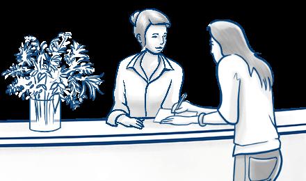 Infografik: Illustration einer Arztpraxis Wartezimmer und behandelnde Ärztin