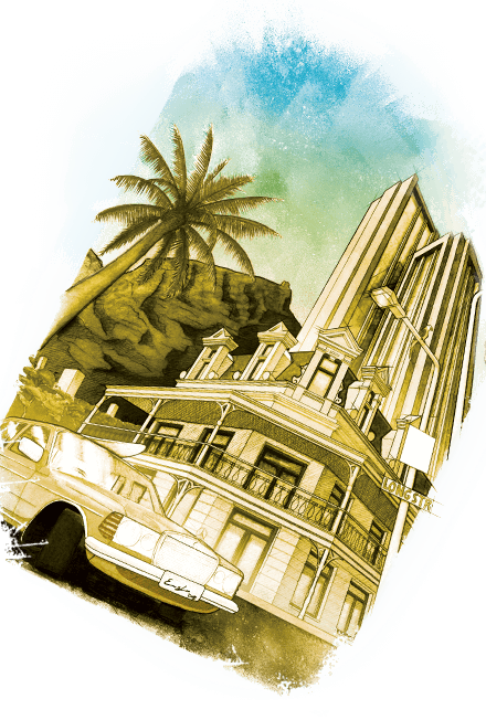 Bleistift und Acryl Poster Illustration Kapstadt Szenerie