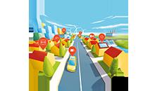 Infografik zum Thema Smart City. Illustration Vektorstil.