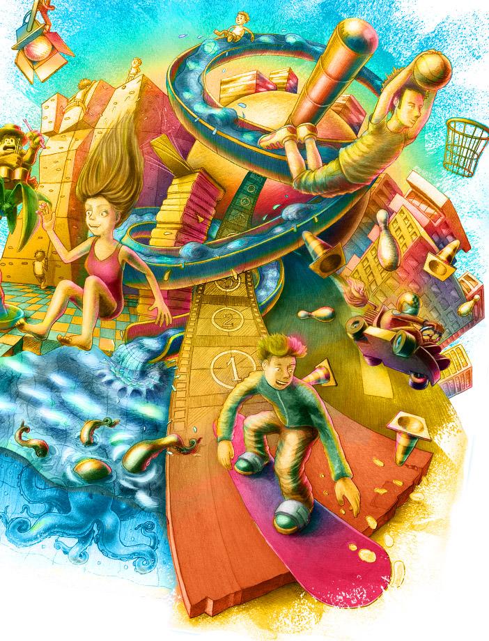 Wimmelbild Illustration für den Super-Ferien-Pass, Poster und Flyer.