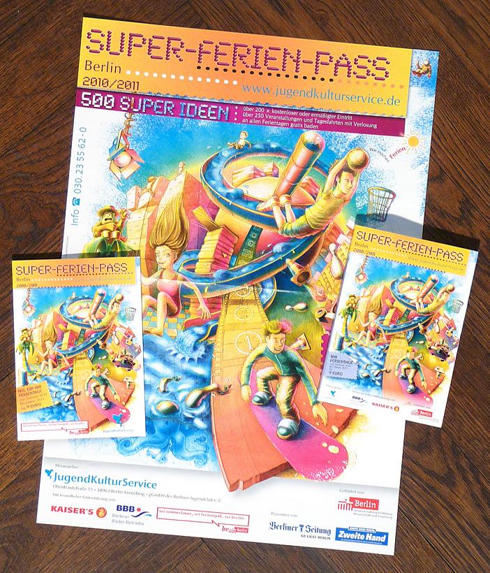Illustration für den Super-Ferien-Pass, Poster und Flyer nach dem Druck.