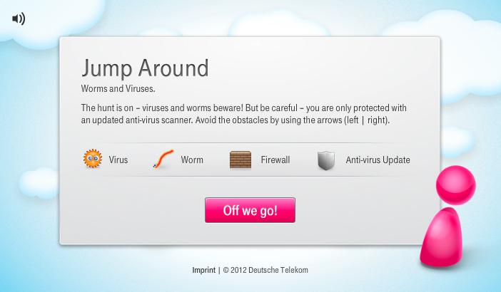 Startbildschirm mit Anleitung Telekom Webgame