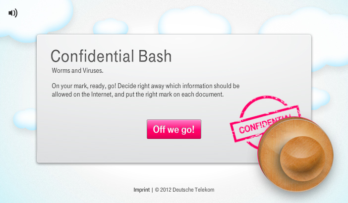 Startbildschirm: Interaktives Minigame Confidential Bash