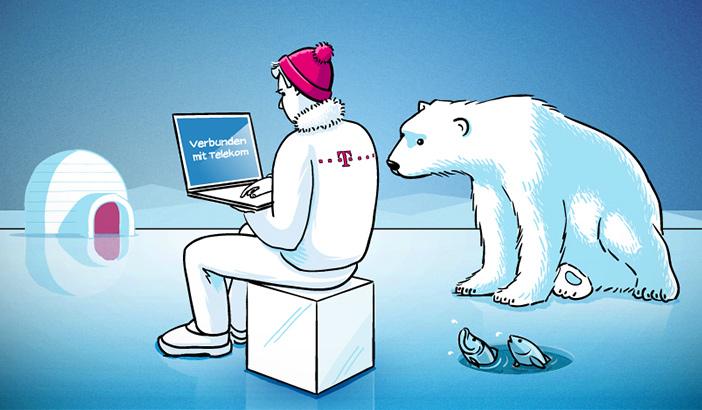 Comic Eisbär und T-Systems Mitarbeiter
