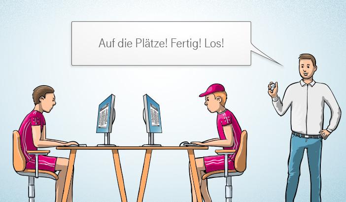 Illustration Büromitarbeiter T-Systems im Wettstreit.