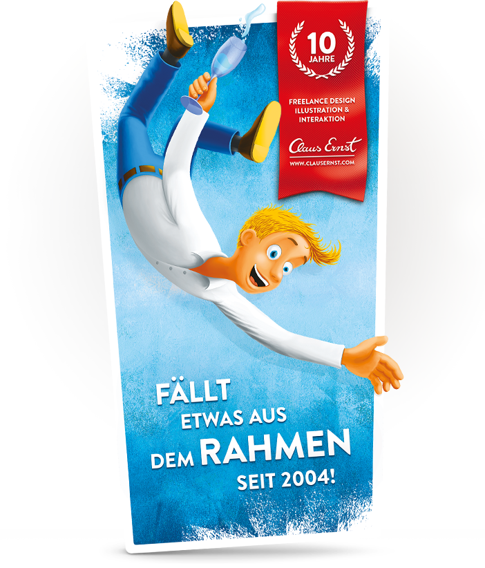 Fröhliche Illustration für Jubiläumsflyer Out-of-the-Box