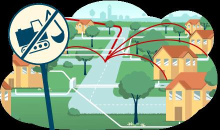 Erklärvideo Schnelles Internet im ländlichen Raum. Vektor im Flat-Look