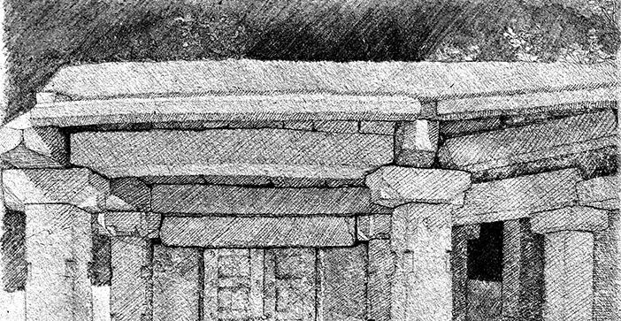 ausgearbeitete Skizze verschlossenes Kloster in Hampi Indien Bleistift