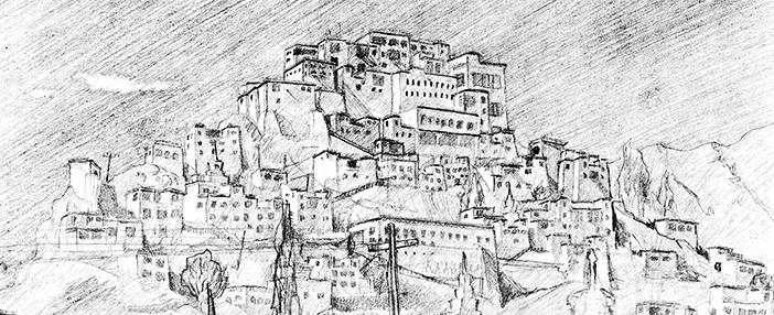 freie Skizze Thiksey-Kloster in Leh Bleistift
