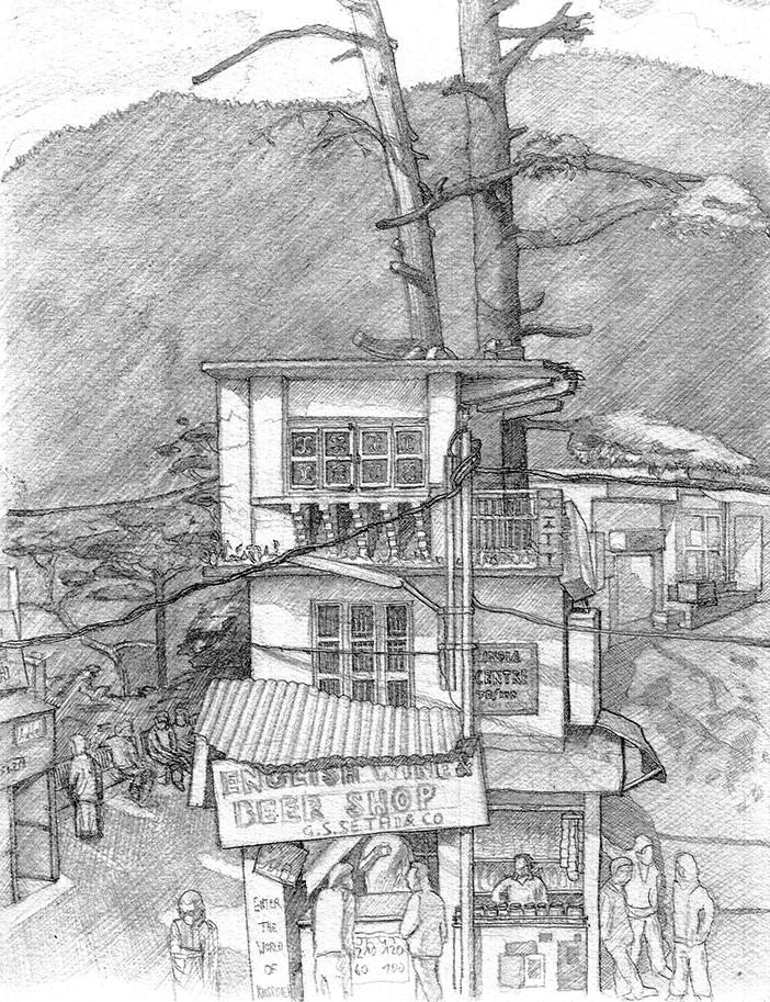 ausgearbeitete Skizze Eigenwillige Hauskonstruktion Indien