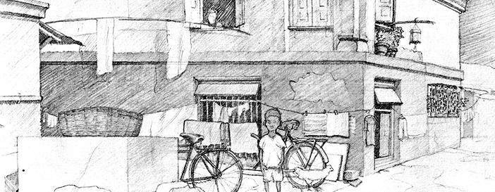 grobe Skizze kleiner Junge in Slum in Mumbai