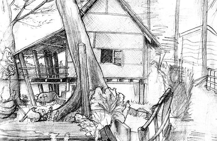 freie Skizze Don-Det in Laos weicher Bleistift