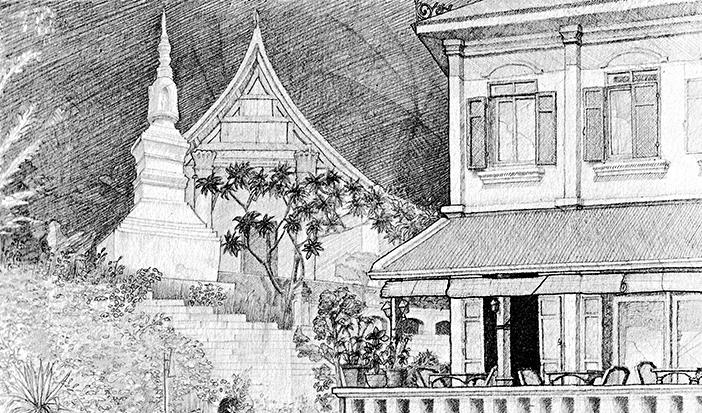 ausgearbeitete Skizze Kloster in Luang-Prabang in Laos Bleistift