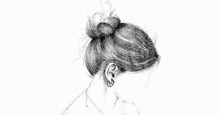 freie Skizze Lisas Haare Bleistift