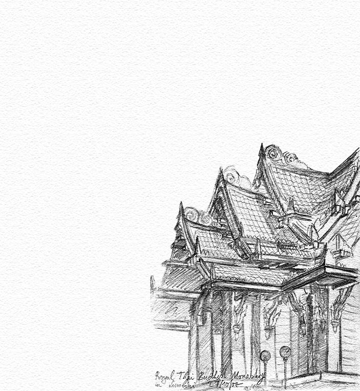 freie Skizze Kloster in Lumbini in Nepal Bleistift