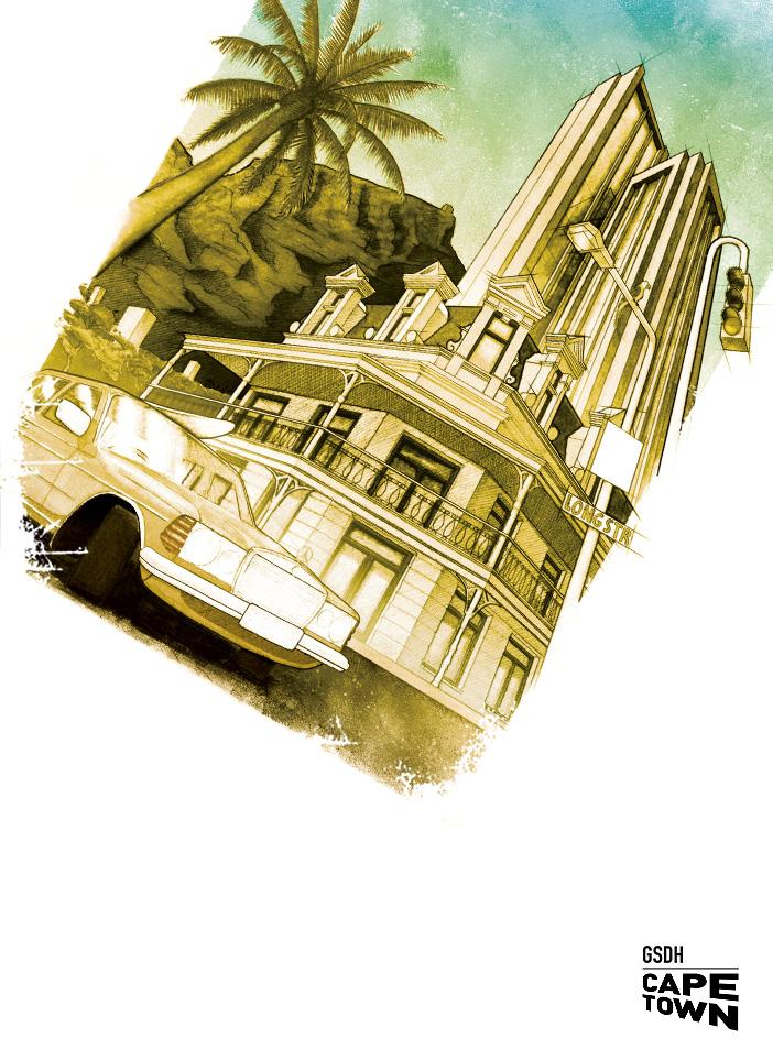 Bleistift, Acryl Posterillustration Kapstadt mit Mercedes und Tafelberg