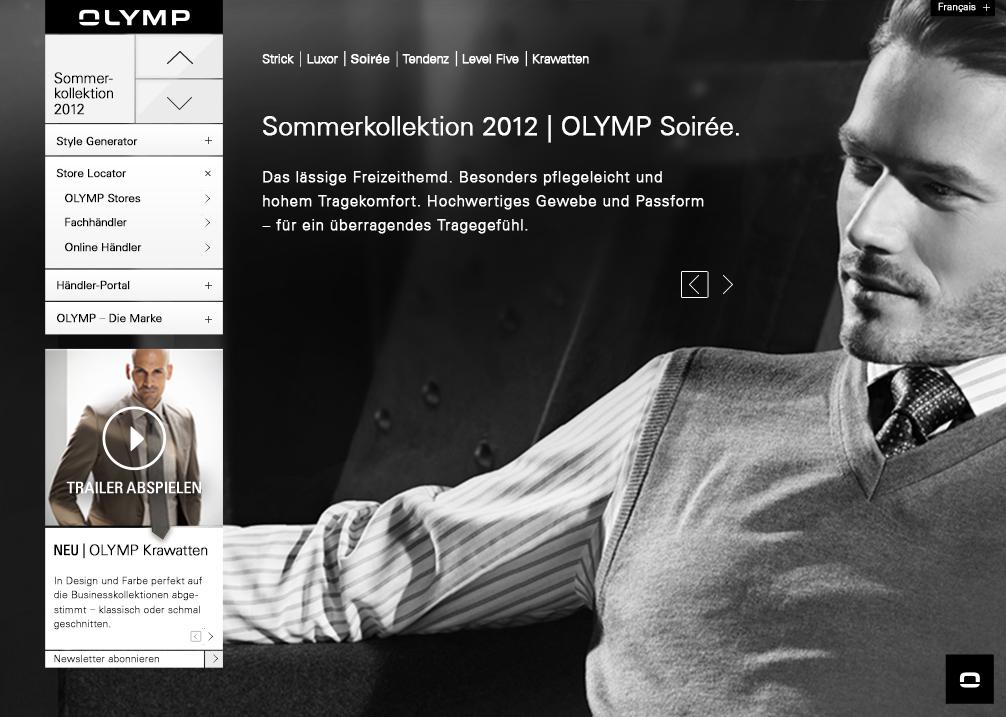 Screendesign für das Modelabel Olymp mit Stylekonfigurator