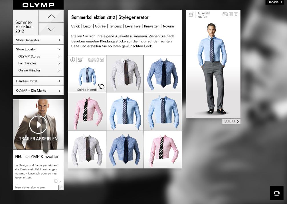 Screendesign für das Modelabel Olymp mit Stylekonfigurator und Shop