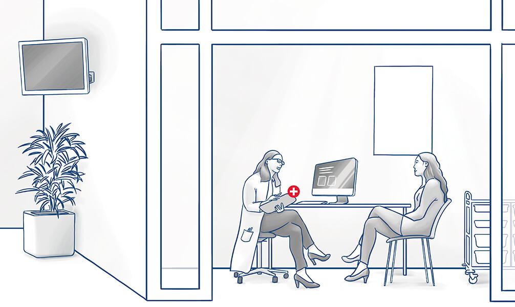 Infografik Behandlungszimmer mit Ärztin und Patientin in einer Arztpraxis