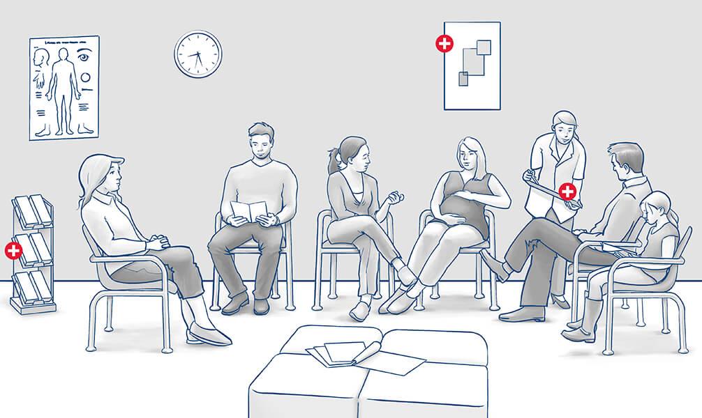 Infografik Warteraum mit Patienten und Arzthelferin in einer Arztpraxis