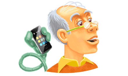 Farbenfrohe Illustration eines Silver-Surfers mit Ambient Assisted Living Technologie