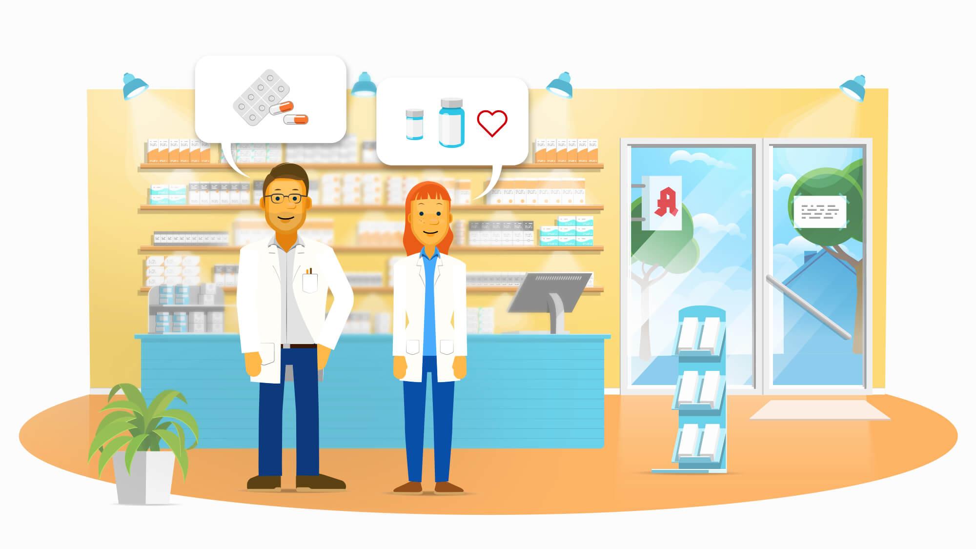 Animierter Erklärfilm im 2D-Flat-Look für Aposcope: Online-Marktforschung im Apotheken- und Pharmamarkt