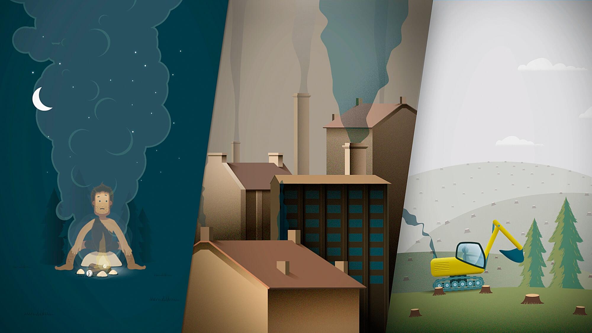 animierter Erklärfilm über den Klimaschutz im Verkehr und die Energiewende. Vektorstil im Flat-Look