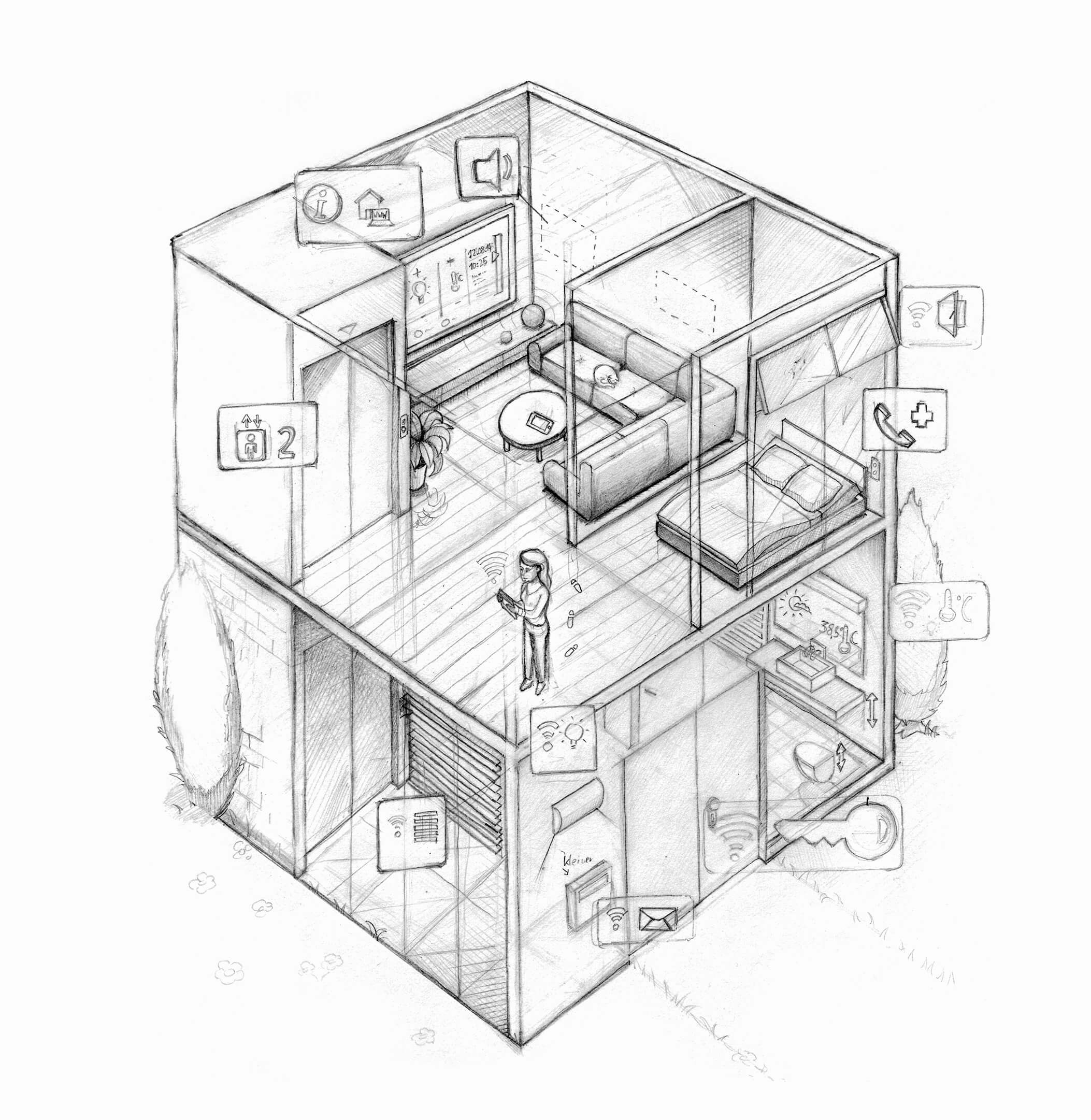Isometrische Vektorgrafik als Umschlaggestaltung zum Thema Barrierefreies Wohnen