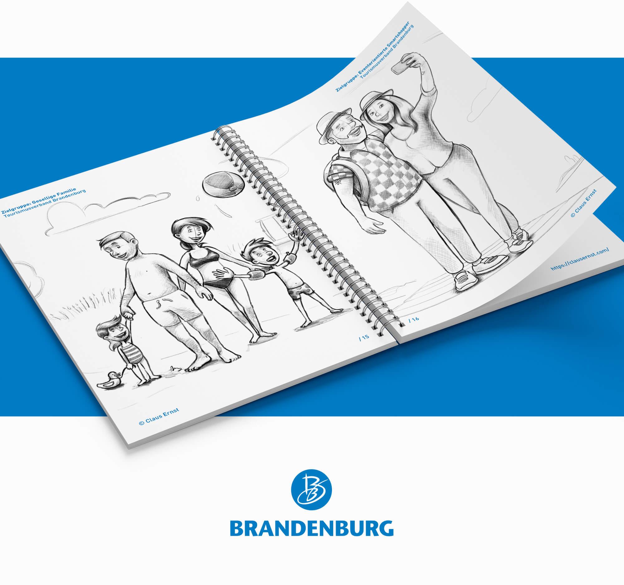 Skizzen touristischer Zielgruppen für den Tourismusverband Brandenburg TMB