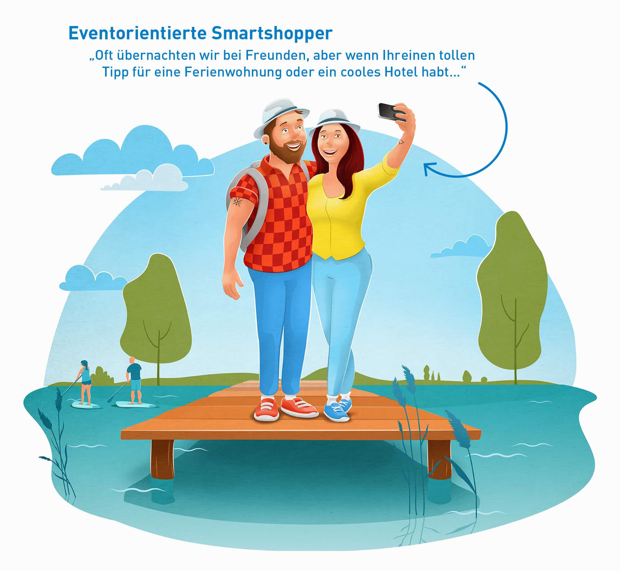 """Illustration der touristischen Zielgruppe """"Eventorientierte Smartshopper"""" mit kleinerem Urlaubsbudget"""