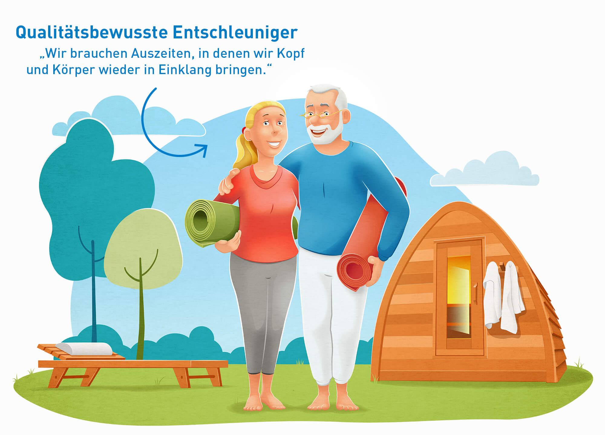 """Illustration der touristischen Zielgruppe """"Qualitätsbewusste Entschleuniger"""": Altersgruppe zwischen 50-64 Jahren ist am stärksten vertreten"""