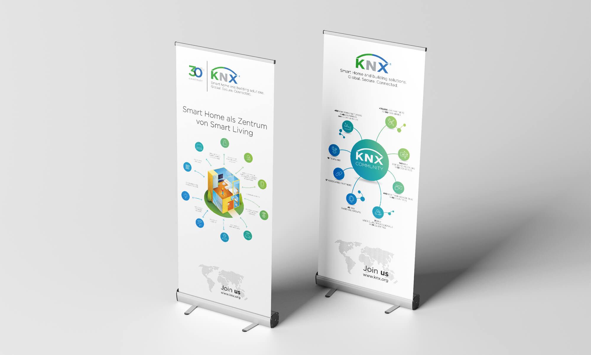 KNX Roll-Up-Aufsteller für die ISE 2020 Community Grafik und Smart Home Illustration Layout und Satz Druckvorlage