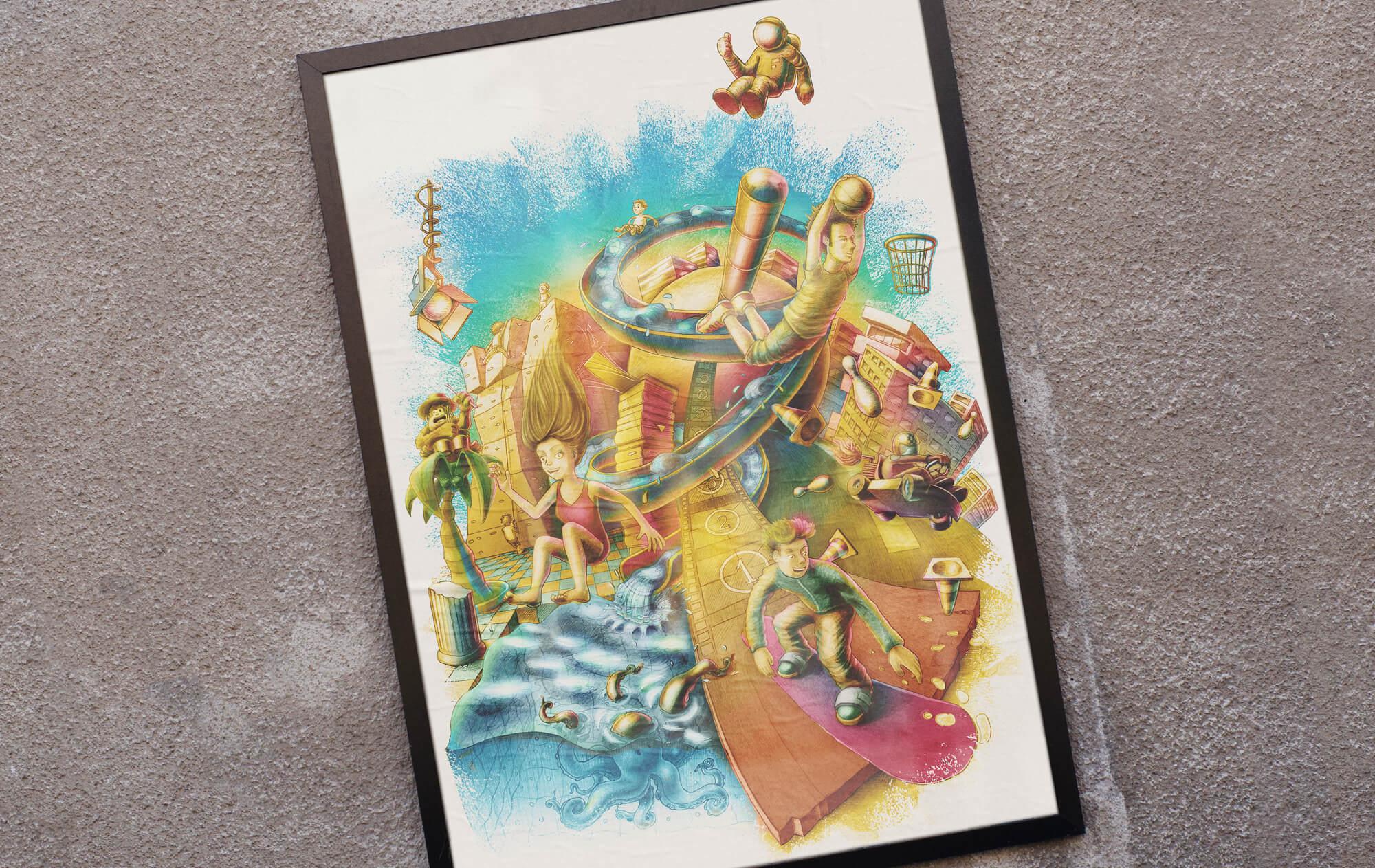 Poster Illustration Jugendkulturservice Berlin Jugendliche und Kinder verschiedene Freizeitaktivitäten
