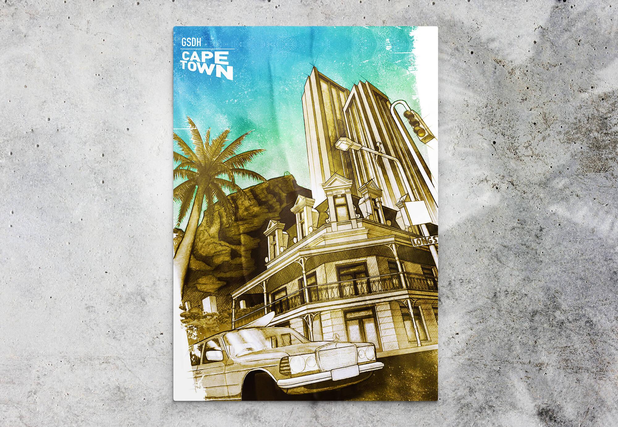 Poster Illustration in Acryl Mercedes vor Tafelberg und Palmen in Kapstadt