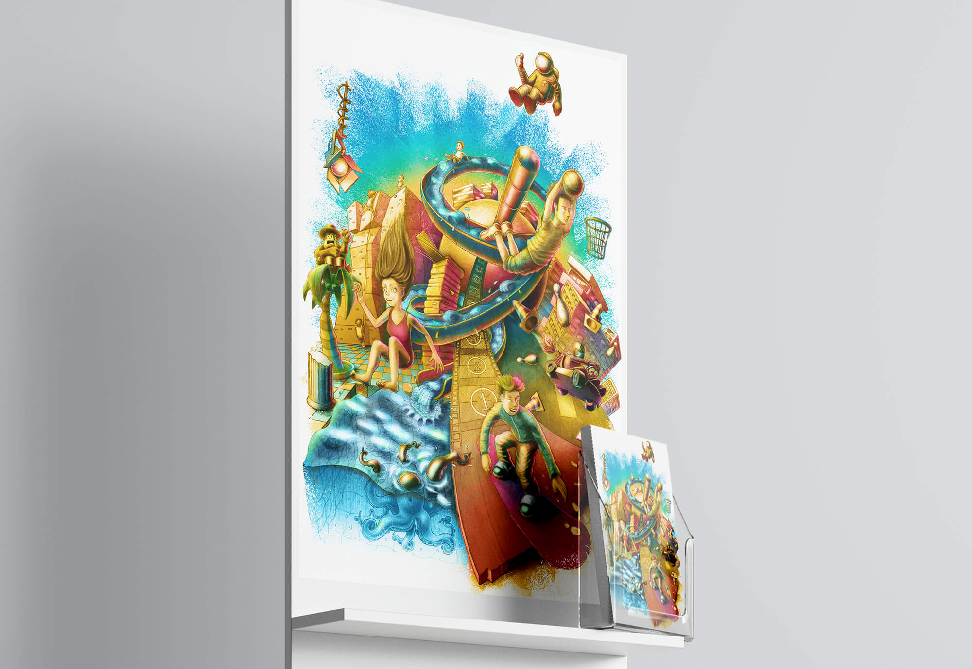 Poster und Flyer schräg Illustration Jugendkulturservice Berlin Jugendliche und Kinder verschiedene Freizeitaktivitäten