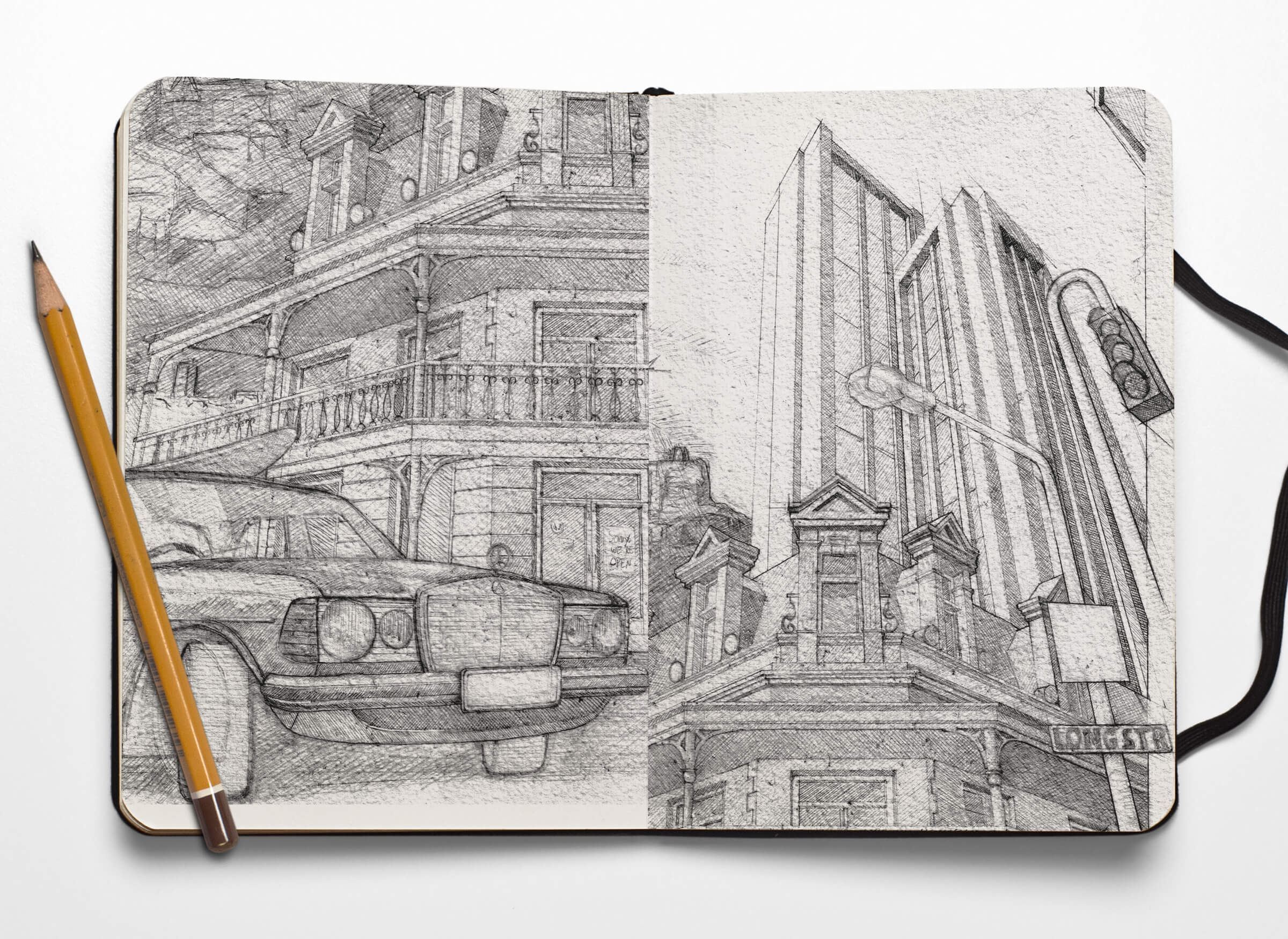 Sketchbook Mercedes und Kolonialstil-Haus in Kapstadt
