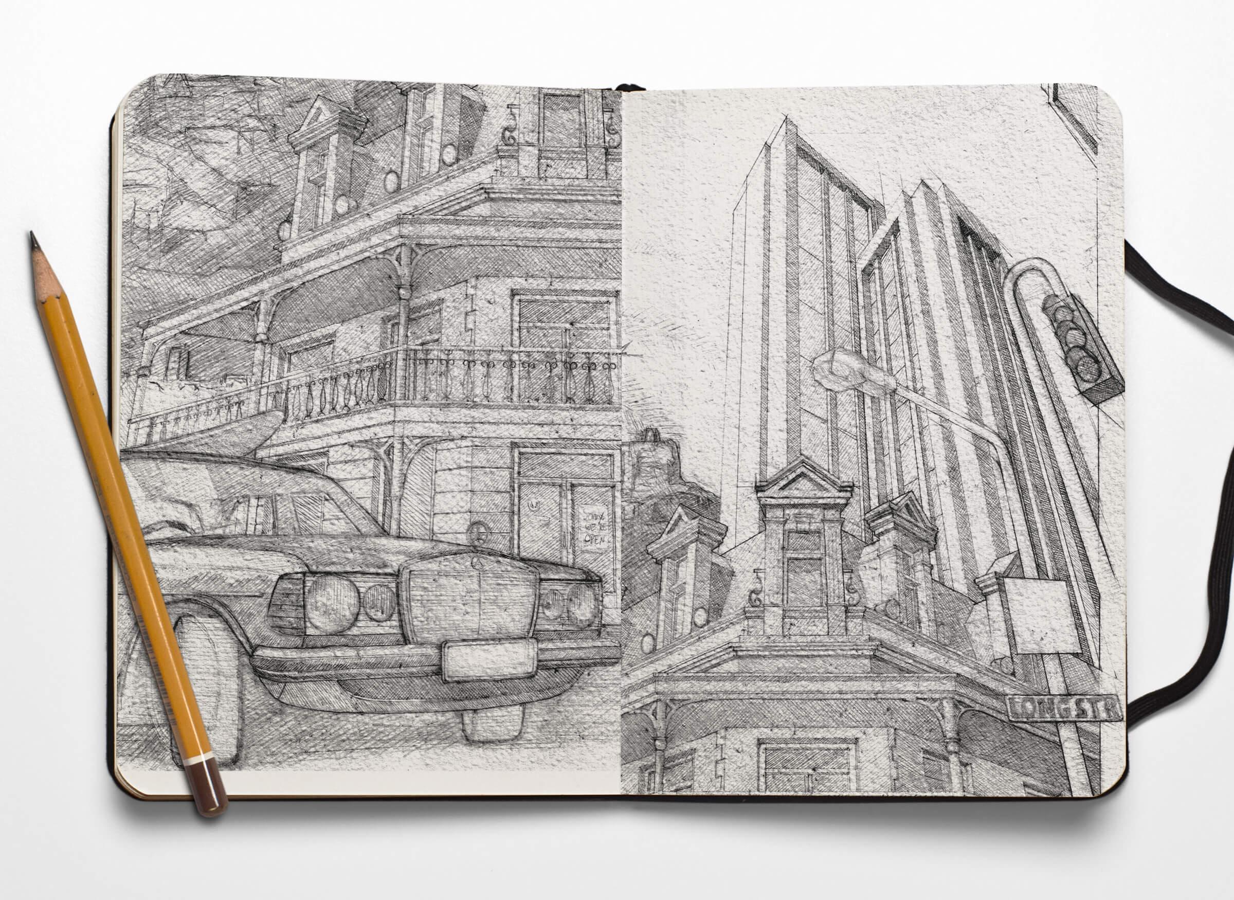 Sketchbook Mercedes und Kolonialstil-Haus in Kapstadt
