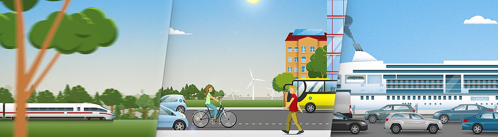 Erklärvideo: Illustrationen Klimaschutz im Verkehr alternative Energiequellen und E-Mobilität